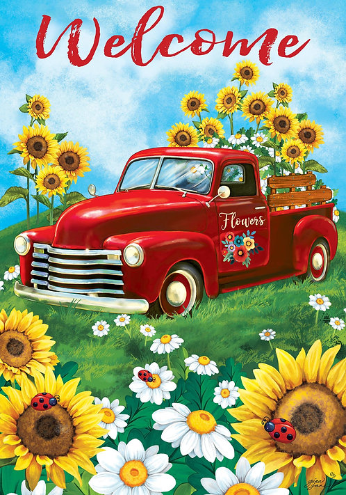 SUNFLOWER TRUCK LARGE DOUBLE SIDED FLAG