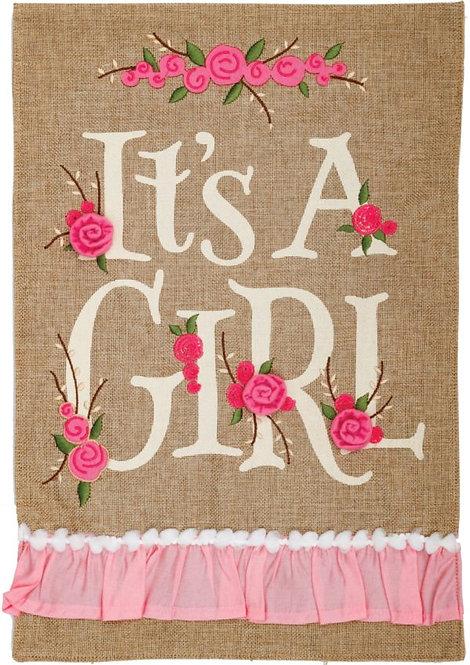 IT'S A GIRL BURLAP FLAG