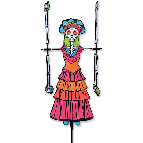 20in DAY OF THE DEAD WOMAN WHIRLIGIG SPINNER