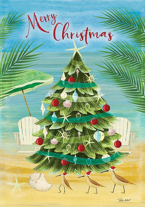 COASTAL CHRISTMAS TREE LARGE FLAG