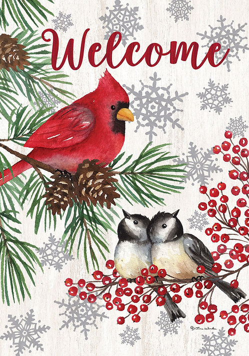 WINTER BIRDS LARGE DOUBLE SIDED FLAG