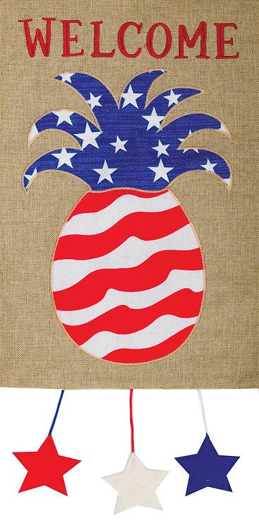 PATRIOTIC PINEAPPLE BURLAP FLAG