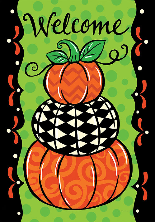 PUMPKIN STACK DOUBLE SIDED FLAG