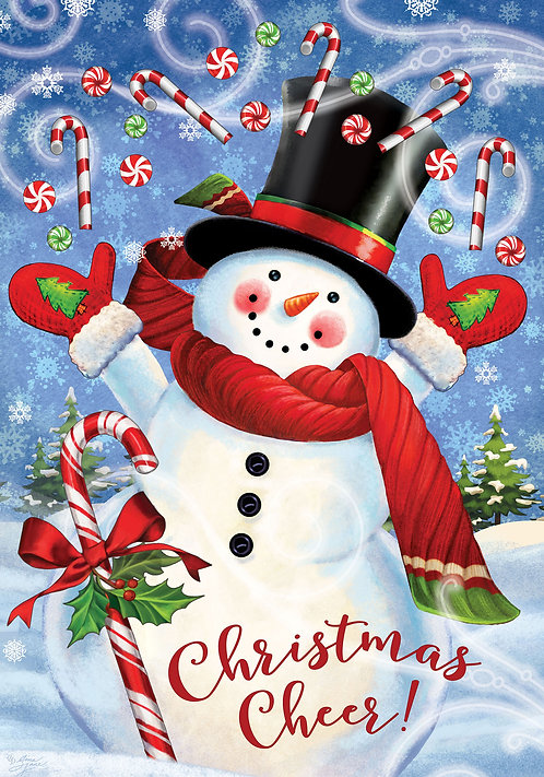 CANDY CANE SNOWMAN LARGE DOUBLE SIDED FLAG