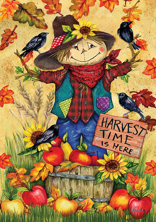 SCARECROW & APPLES LARGE DOUBLE SIDED FLAG