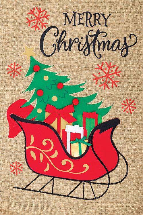 CHRISTMAS SLEIGH BURLAP FLAG
