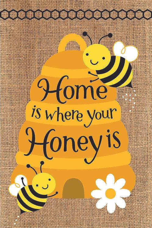 HONEY BEES BURLAP FLAG