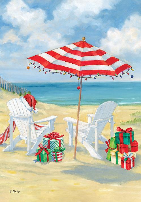 CHRISTMAS BEACH LARGE DOUBLE SIDED FLAG