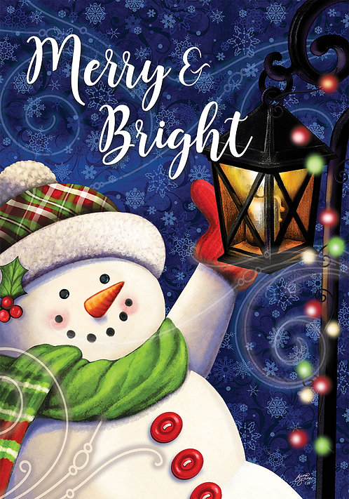 MERRY & BRIGHT SNOWMAN FLAG