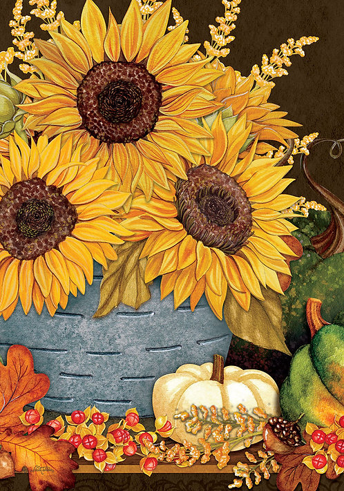 SUNFLOWERS & GOURDS LARGE DOUBLE SIDED FLAG