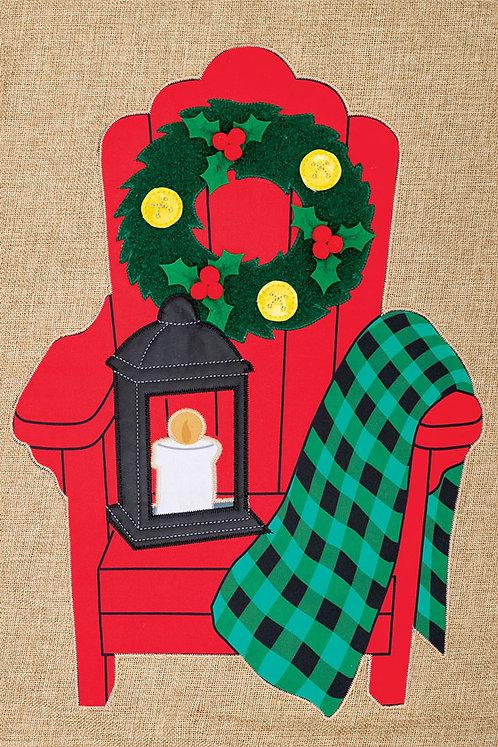 CHRISTMAS ADIRONDACK BURLAP FLAG