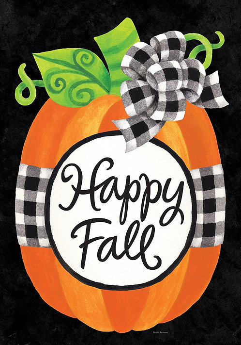 GINGHAM PUMPKIN LARGE DOUBLE SIDED FLAG