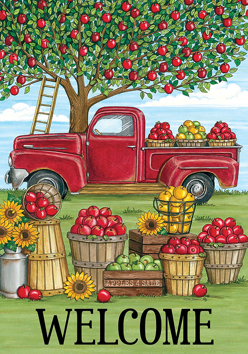 APPLE TREE TRUCK LARGE DOUBLE SIDED FLAG