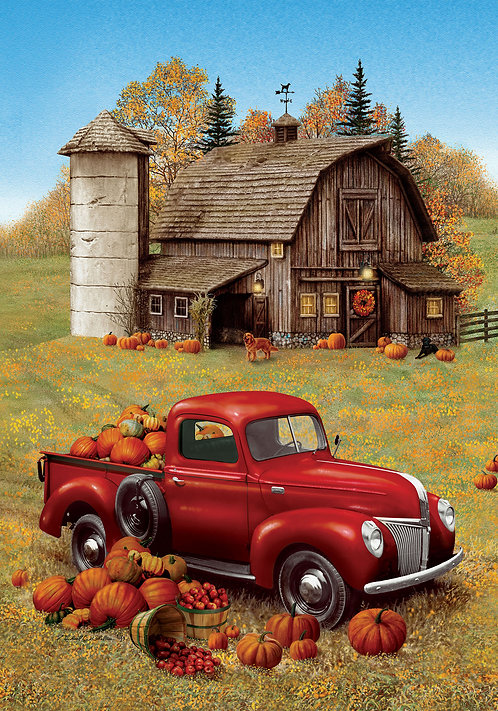 FALL BARN TRUCK LARGE DOUBLE SIDED FLAG