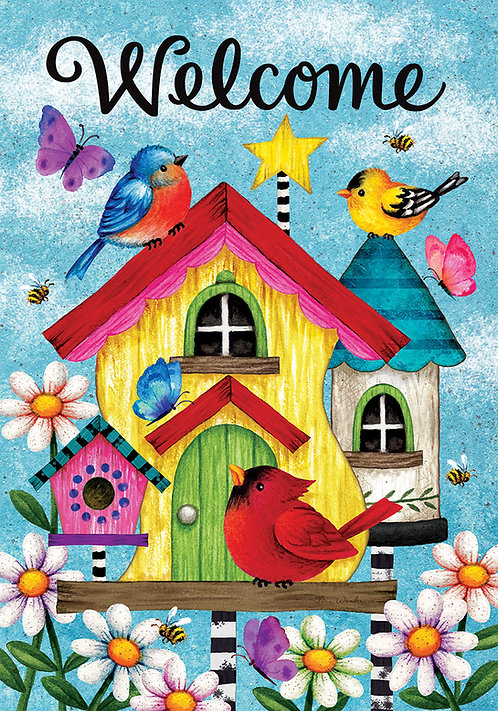 WHIMSY BIRDHOUSE  FLAG