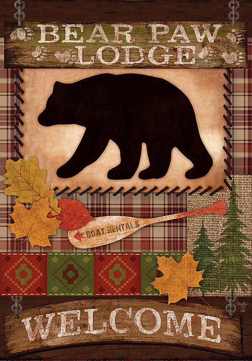 WELCOME BEAR LARGE DOUBLE SIDED FLAG