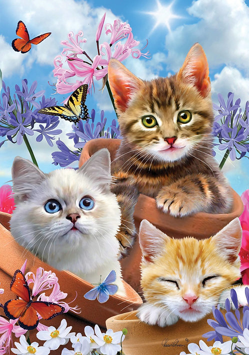 KITTENS & FLOWERS LARGE DOUBLE SIDED FLAG