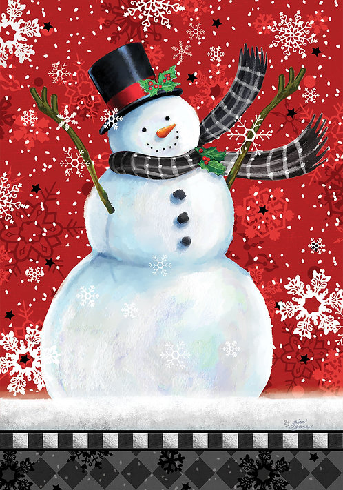 SNOWMAN ON RED LARGE DOUBLE SIDED FLAG