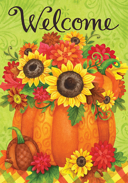 PUMPKIN FLORAL DOUBLE SIDED FLAG