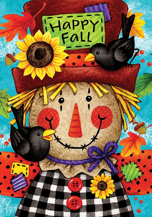HAPPY SCARECROW LARGE DOUBLE SIDED FLAG
