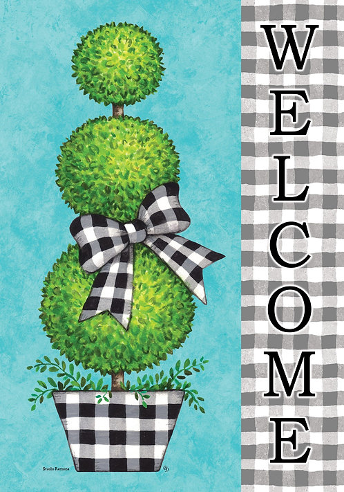 GINGHAM TOPIARY LARGE FLAG