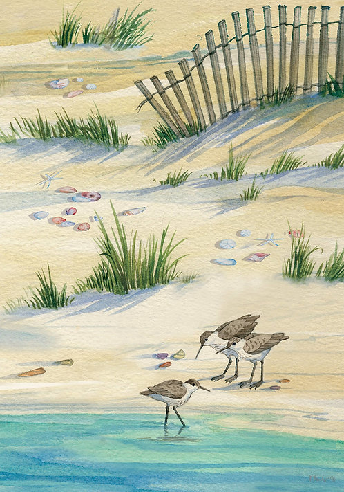 SAND PIPERS LARGE FINE ART FLAG