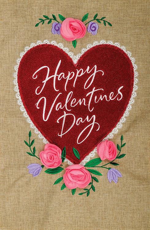 VALENTINE'S HEART BURLAP FLAG