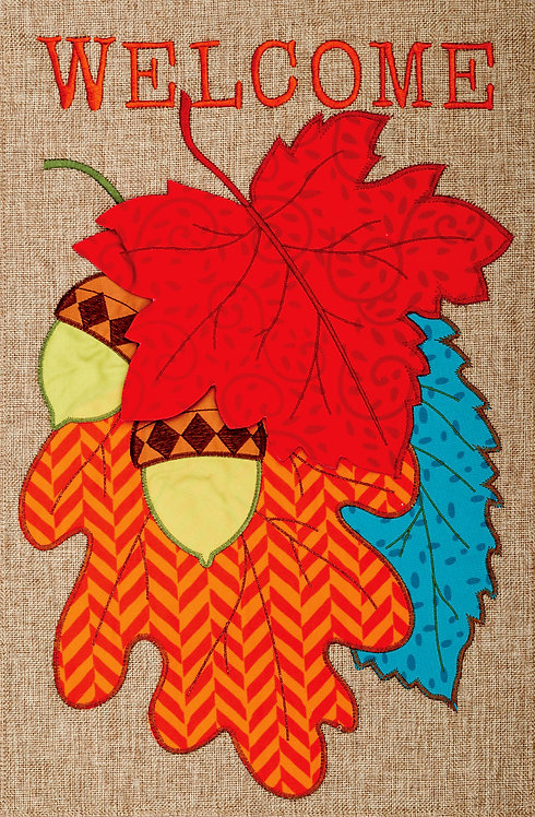 WELCOME LEAVES BURLAP FLAG