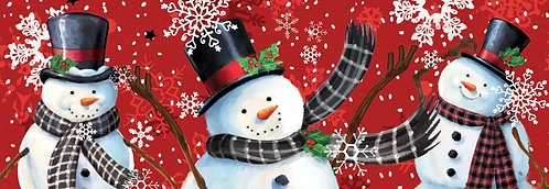 SNOWMAN ON RED SIGNATURE SIGN