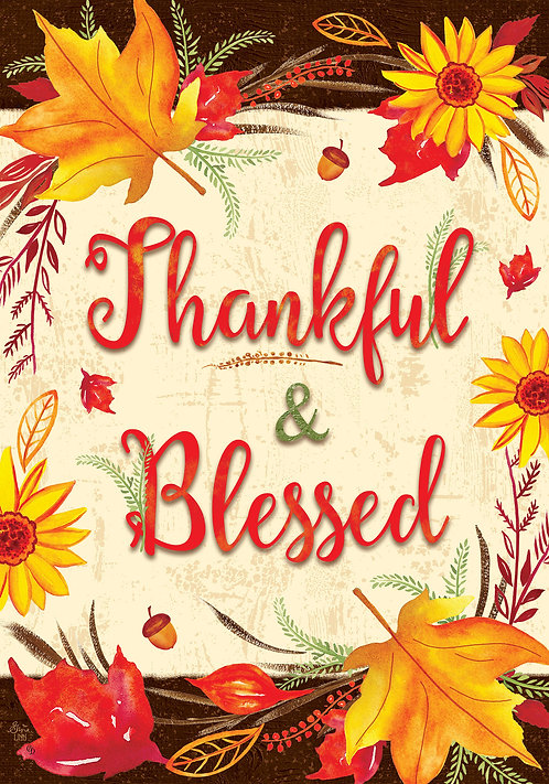 THANKFUL & BLESSED DOUBLE SIDED FLAG