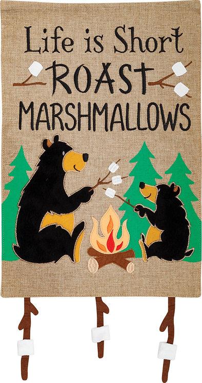 MARSHMALLOW BEARS BURLAP FLAG