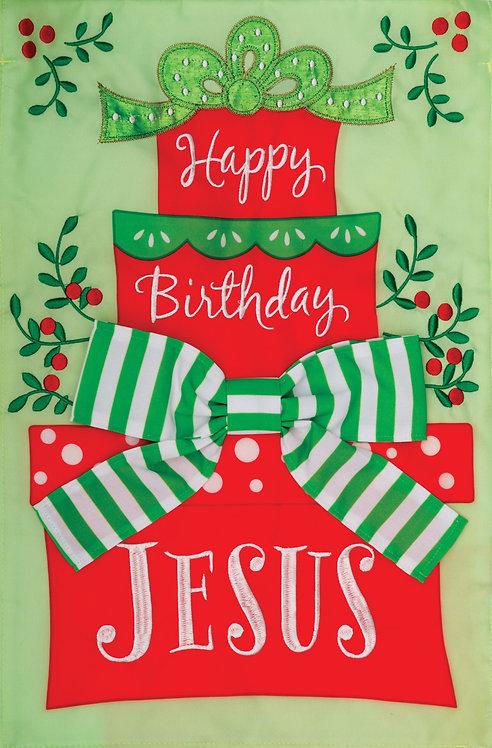 HAPPY BIRTHDAY JESUS APPLIQUÉ FLAG