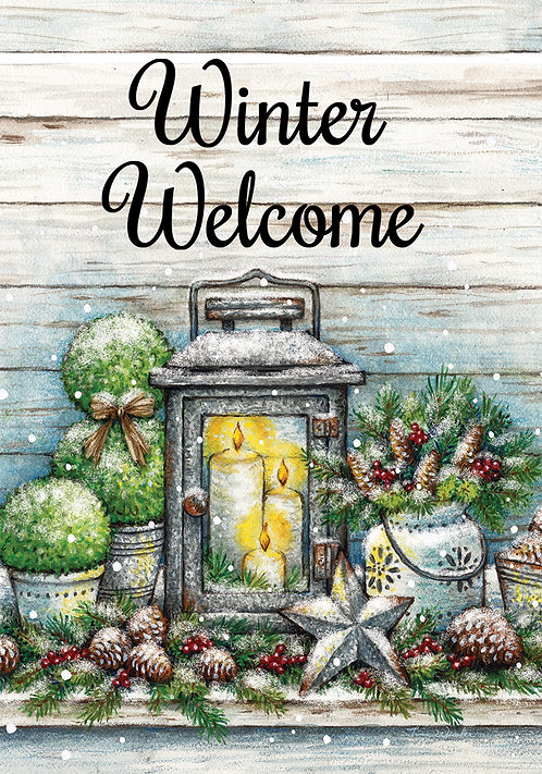 WARM WINTER WELCOME LARGE DOUBLE SIDED FLAG