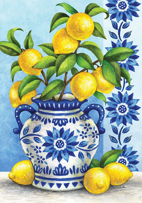 BLUE WILLOW & LEMONS LARGE FLAG