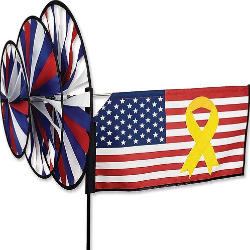 YELLOW RIBBON FLAG TRIPLE SPINNER