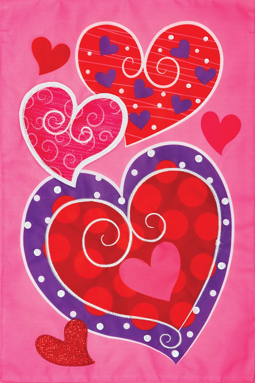 WHIMSY HEARTS APPLIQUE FLAG