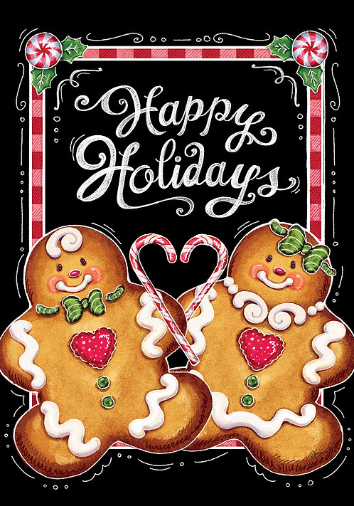 GINGERBREAD HOLIDAY LARGE DOUBLE SIDED FLAG