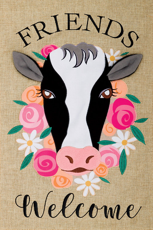 FLORAL COW BURLAP FLAG