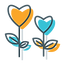 yellow and blue thank you flowers icon