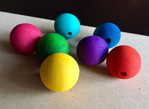 Large Colour Round Wooden Beads x 5