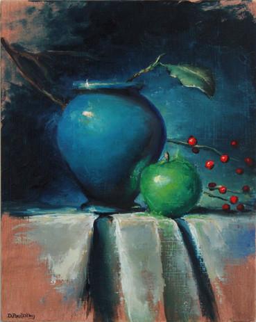 Dan Paulding - Blue Vase and Green Apple