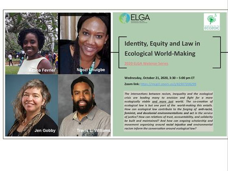 Highlights of the webinar Identity, Equity and Law in Ecological World-making