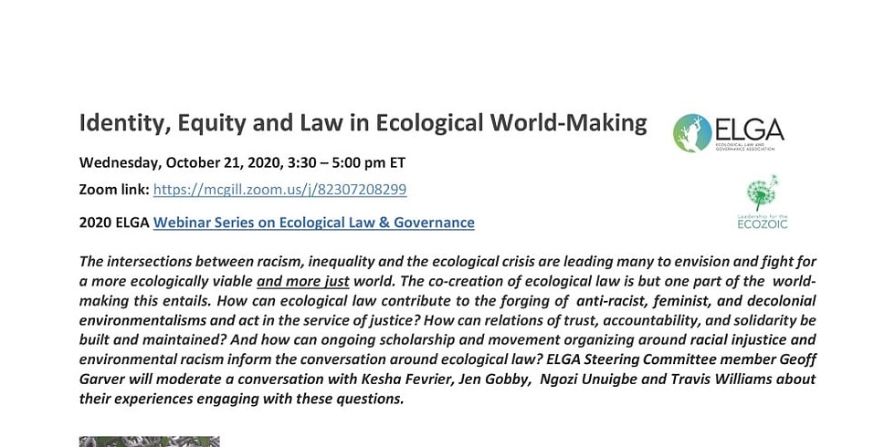 ELGA Webinar Series 2020: Identity, Equity and Law in Ecological World-Making