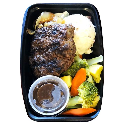 Salisbury Steak, Caramelized Onions, Garlic Parmesan Potatoes, Broccoli Medley