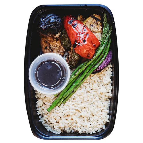 Grilled Vegetables and Brown Rice With Honey Balsamic Glaze