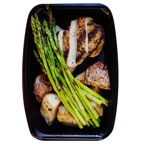 Grilled Pork Loin, Roasted Potatoes or Sweet Potatoes, Asparagus