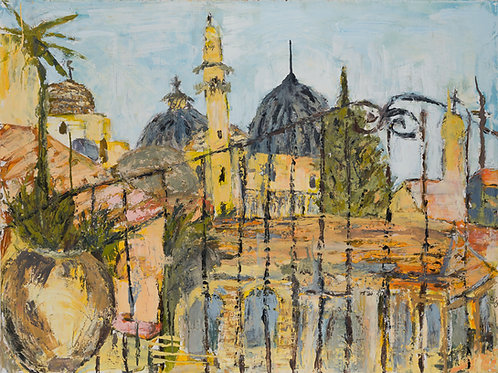 Jerusalem Rooftops - Oil and Wax on Canvas