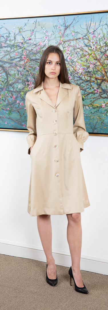 Trench Dress in Silk Charmeuse