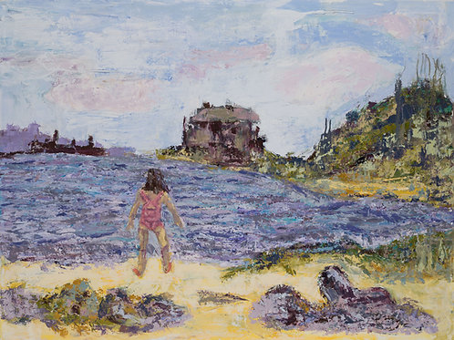Girl on the Beach - Oil and Wax on Canvas