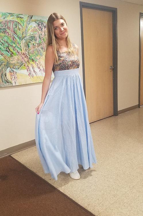 Maxi Dress in Powder Blue with Proprietary Print